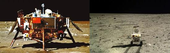 2013年12月2日发射的嫦娥三号和玉兔号月球车,它们能量主要倚赖太阳能电池板(图源:中国航天科技集团)