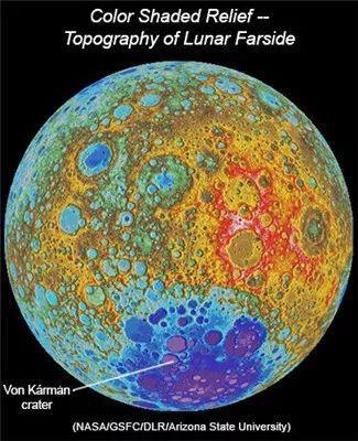 冯-卡门撞击坑在月球上的位置(图片来源:NASA)