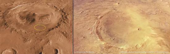 (左)盖尔撞击坑,基于NASA多个火星环绕器影像数据的电脑模拟;(右)杰泽罗撞击坑,火星快车HRSC影像
