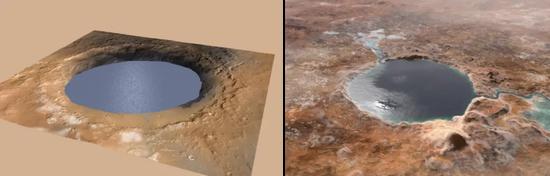 (左)盖尔撞击坑和(右)杰泽罗撞击坑有湖水状态的假想图 | NASA
