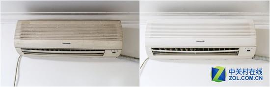 2007年生产的格力空调 左为清洗前 右为清洗后