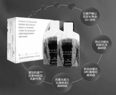 白藜芦醇-沛泉菁华被宣传多种特殊功效,图自美商婕斯中国网站