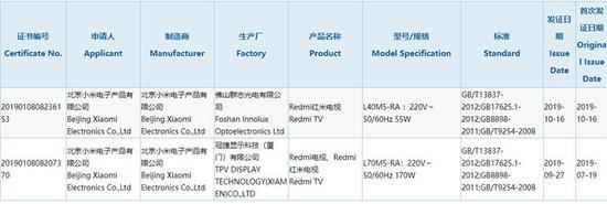 L40的Redmi红米电视已通过3C认证,预计其...
