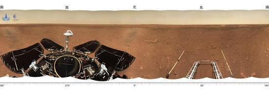 """着陆点全景图,摄影:""""祝融号""""火星车"""