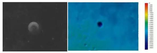 史密斯坑(CtaterPiazzi Smyth)中心地理坐标:41.9°N,3.2°W,直径:13km 左图为影像图,右图为彩色晕渲地形图