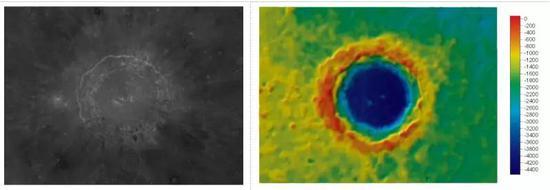 哥白尼坑(CraterCopemicus)中心地理坐标:9.7°N,20.1°W,直径:93km左图为影像图,右图为彩色晕渲地形图