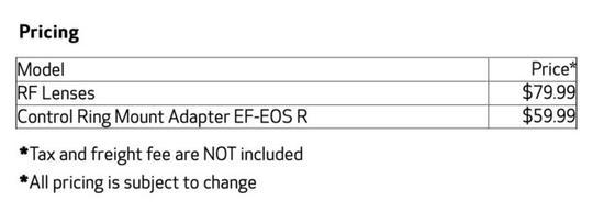 80美元 佳能提供RF�R�^控制�h消音服��