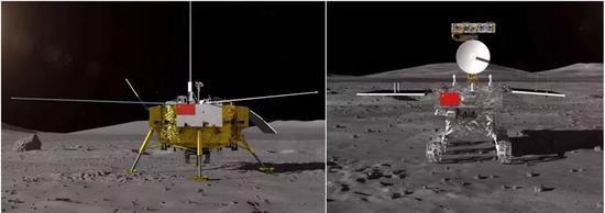 嫦娥4号着陆器(左)和月球车(右)。来源:航天科技集团