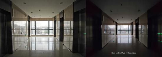 ▲ 左为全画幅相机使用 24mm 镜头拍摄,右为一加 9 Pro 拍摄