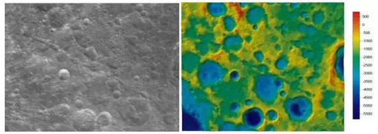 萨姆纳坑链(CraterCatena Sumner)中心地理坐标:37.3°N,112.3°E,长度:247km左图为影像图,右图为彩色晕渲地形图