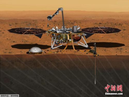"""""""洞察""""号登陆火星概念图。"""