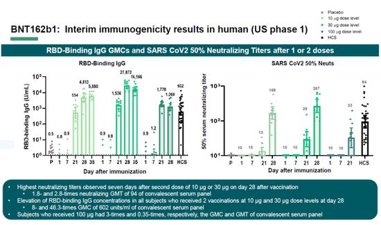 BNT162b1的中期免疫原性数据