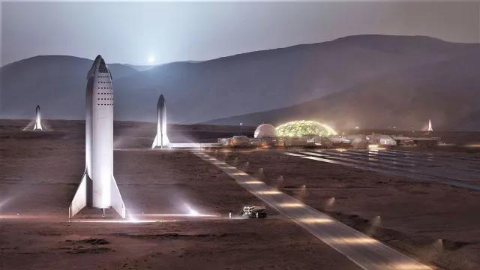 SpaceX火星基地假想图。来源:SpaceX