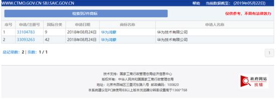 华为鸿蒙商标现身国家知识产权局商标局中国商标网