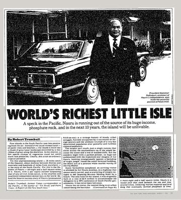 1982年,纽约时报报道称瑙鲁是世上最富有的地方