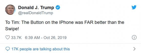 库克回应特朗普吐槽没有 Home 键的 iPhone 不好用:会为他演示