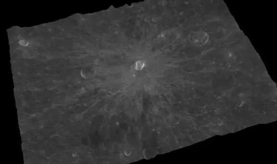 伯朱斯坑(CraterByrgius)中心地理坐标:24.7°S,65.3°W,直径:87km 上图为影像图,下图为三维影像图
