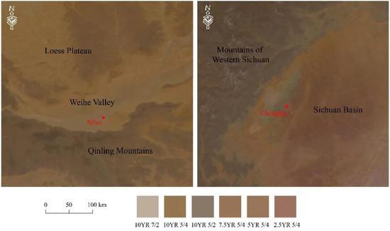 25cm深度土壤颜色(润态)局部细节图:西安区域(左)和成都区域(右)