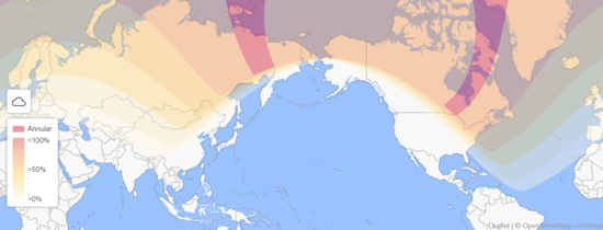 全球日食可见情况,图中颜色的深浅表示食分,颜色越深食分越大,图中颜色最深的带状区域为环食可见带 Credit:timeanddate.com