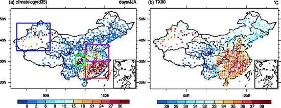 左图:1960-2013年间全国高温热浪天数,蓝色框代表新疆地区,绿色框代表川渝地区,紫色框代表黄淮地区,红色框代表东南地区;右图:1960-1989年中国日最高温度的90%百分率分布