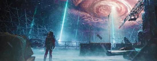 """(电影剧照,蓝色光束为等离子发动机""""火焰"""",右上暗红圈为木星大气层的大红斑)"""