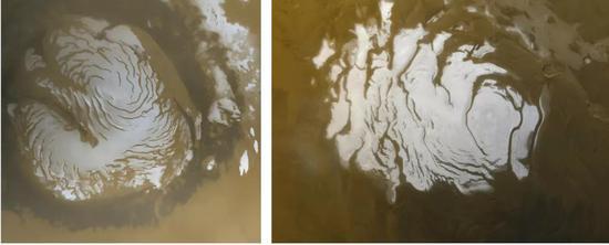 火星的南北两极覆盖有冰盖,由干冰和水冰混合而成。左图为夏天的火星北极,右图为火星南极。 NASA/JPL/MSSS
