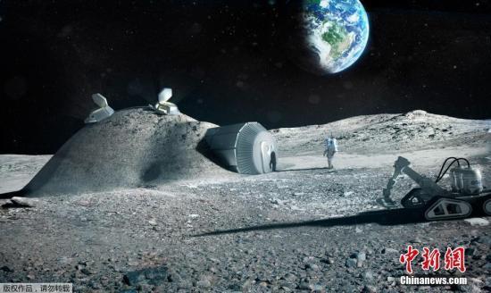 資料圖:2017年9月25日消息,歐洲航天局9月22日發布3D打印月球基地效果圖。預計到2040年,將有100人生活在月球上,融冰為水,3d打印房屋和生活工具,在月球土壤中種植植物。