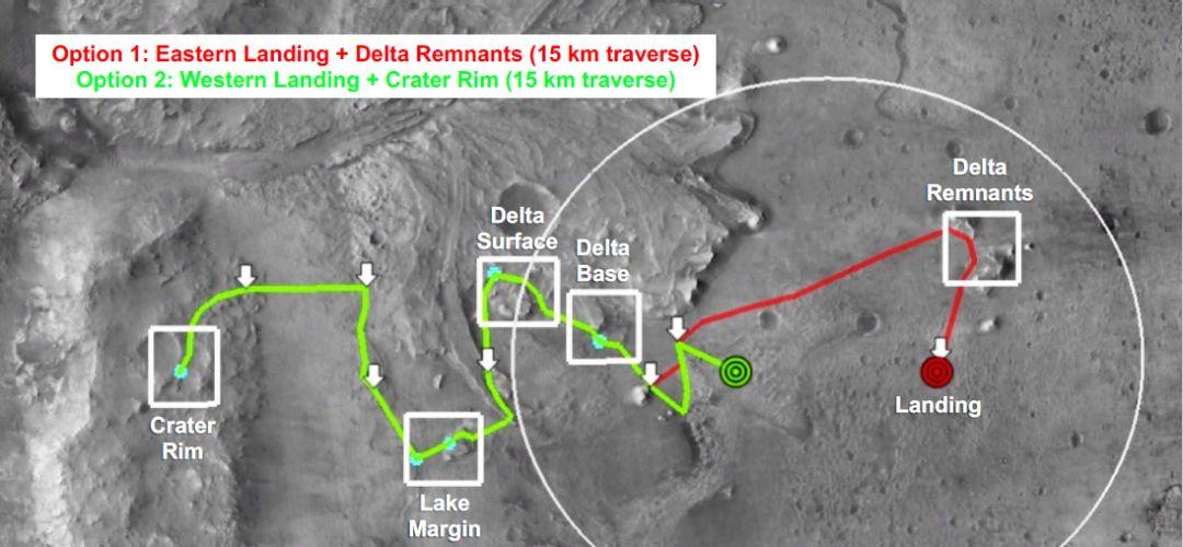 Mars 2020火星车目前的2条规划路线 | 毅力号第四次研讨会Jezero撞击坑最终评估报告