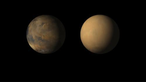 火星遭沙尘暴侵袭前后对比。图片来源:NASA官网。