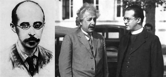 图4 (左)弗里德曼;(中)喜欢因斯坦;(右)勒梅特