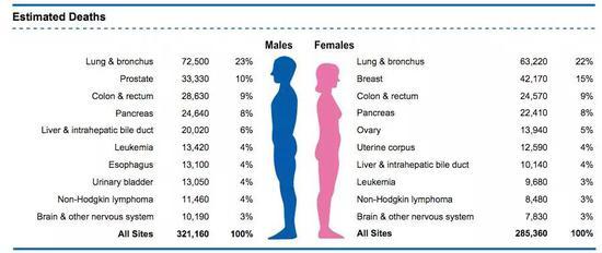 2020年预估因癌症死亡的人数及性别差异