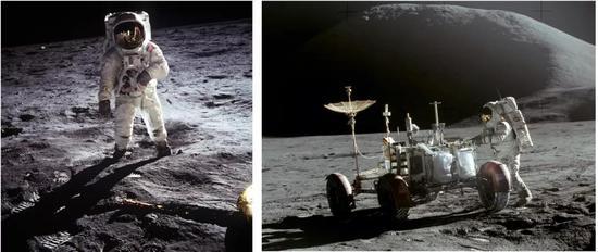 1969年,人类第一次踏上月球。左图为阿波罗11号宇航宇阿姆斯特朗拍摄的奥尔德林。右图为阿波罗15号宇航员在使用月球车。