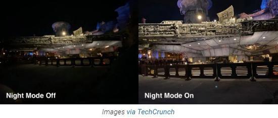 """""""夜景模式""""打开/关闭样张对比(图:TechCrunch)"""