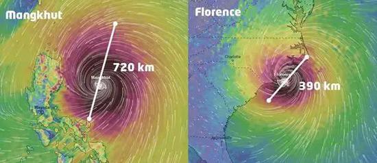"""EC模型显示,台风""""山竹""""(左)直径约720公里,台风""""佛罗伦斯""""的直径约390公里。图中白色区域为风力大于300 km/h。数据来源Windy.com。图片来源:strangesounds"""