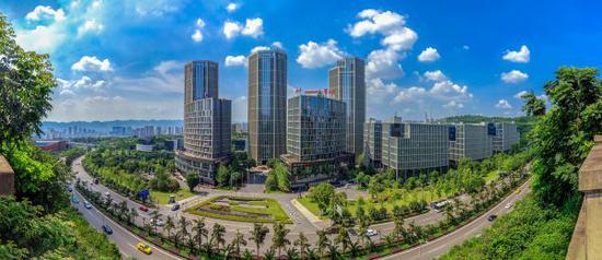 资料图:重庆两江新区数字经济产业园全景图。(新华社)