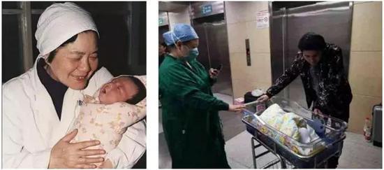 图1左:试管婴儿之母张丽珠教授与中国大陆首例试管婴儿郑萌珠,出生于1988年3月10日;图1右:郑萌珠于2019年4月15日诞下一名男孩。