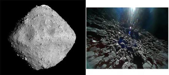 """(左)隼鸟2号拍摄的直径约900米的幼走星""""龙宫"""";(右)MINERVA-II-1B着陆后拍摄的""""龙宫""""外貌。来源:JAXA"""