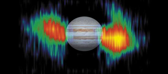 木星的射电辐射示意图(图源:www.britannica.com)