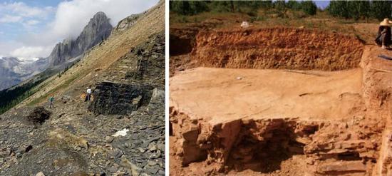 拿大布尔吉斯页岩生物群(左)和云南澄江生物群挖掘现场(右)。图片来源: Wikimedia Commons(左);参考文献[2](右)