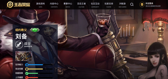 """游戏人物""""刘备""""被设置成纽约教父的形象。"""