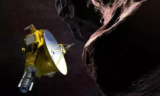 概念图:新视野号航天器遭遇 2014 MU69 ——它是一个运走轨道在冥王星外侧 16 亿公里处的柯伊伯带天体,人们给它首了个诨名叫海角天涯(Ultima Thule)。图片来源:emily.furfaro / Nasa / JHUAPL / SwRI
