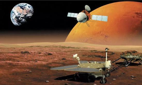 """""""天问一号""""艺术暗示图。这次义务将综相符操纵轨道器和着陆器/巡视器来钻研这颗红色星球。"""