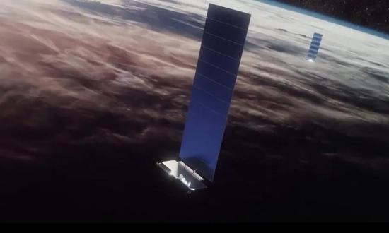 马斯克Starlink计划发射的人工卫星,图片来自spacex