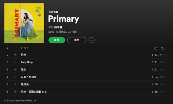 (歌手:颜卓灵 | 专辑:《Primary》| 音频服务:Spotify | 质量选择:极高)