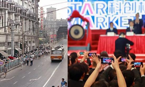 左为1990年上海证券所开业市民列队买股票,右为科创板2019年成立 图源:网络