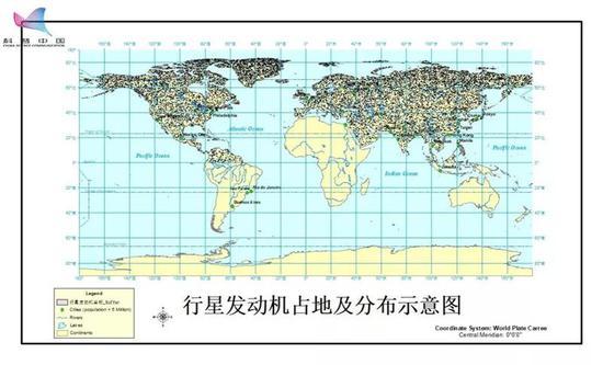 全球范围行星发动机占地及分布示意图,来源:作者自制