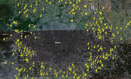 2010年,《垃圾围城》中标注的,北京四周的大小垃圾场