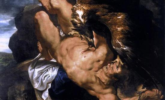 盗火者普罗米修斯遭受诅咒——被秃鹫每日叼食肝脏,而到晚上他的肝又恢复原样,第二日再被周而复始地叼食