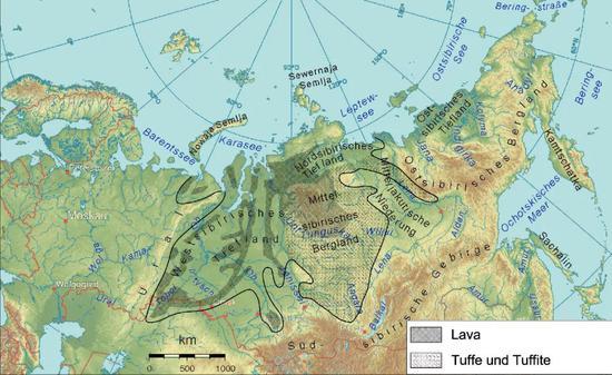 2.51亿年前,西伯利亚超大周围玄武质火山隐瞒周围