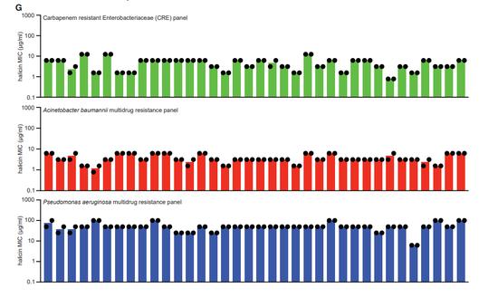 ▲除了銅綠假單胞菌(藍色)外,halicin在測試的幾種耐藥菌里,顯示了良好的廣譜抗菌活性(圖片來源:參考資料[1])